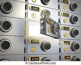 concept., brandkast, bankwezen, dozen, storting, vault., bank