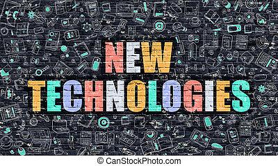 concept., brickwall., technologie, nowy, ciemny, multicolor