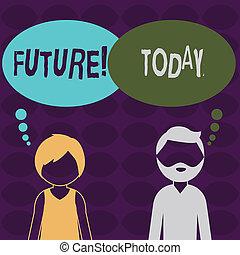 concept, bubble., texte, période, vide, happen, pensée, future., evénements, profil, barbu, femme, anonyme, coloré, moment, présent, homme, signification, volonté, temps, suivre, écriture