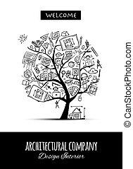 concept, bureau, arbre, architecture, ton, conception