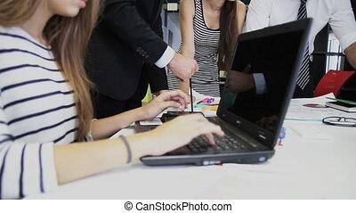 concept, bureau, business, démarrage, -, créatif, projet, équipe, discuter, heureux