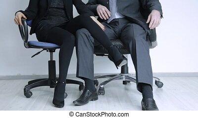 concept, bureau, elle, femme affaires, boss., jeune, abus,...
