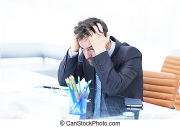 concept, bureau, fatigué, somnolent, dépression, work., tension, tard, tenir tête, sien, business, ouvrier, après, erreur, tôt, confection, overworking, hands., homme, matin, lieu travail, nuit, conclusion, ou