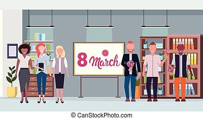 concept, bureau, femmes affaires, conférence, donner, mélange, intérieur, 8, heureux, entiers, mars, hommes, féliciter, horizontal, fleurs, jour, femmes, salle, longueur, course, hommes affaires, womens