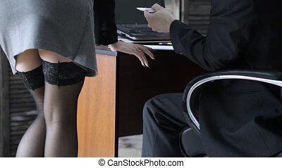 concept, bureau, flirter, patron, workplace., abus, sexy,...