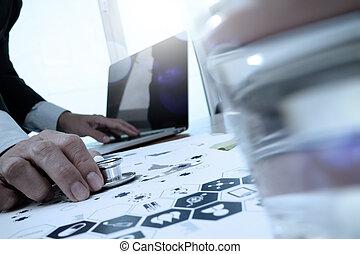 concept, bureau, fonctionnement, docteur, média, ordinateur portable, diagramme, informatique, espace de travail, monde médical, réseau