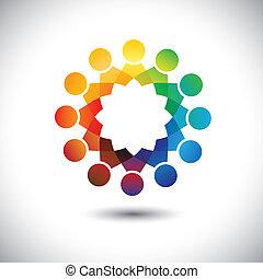 concept, bureau, graphic., communauté, children(kids), personnel, réunions, etc, union, aussi, employé, cercles, illustration, représente, ouvriers, gens, ensemble, ceci, vecteur, jouer, amusement, ou