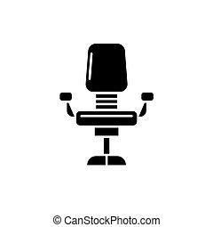 concept, bureau, isolé, illustration, signe, arrière-plan., vecteur, noir, icône, chaise, symbole