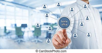 concept, bureau, maison