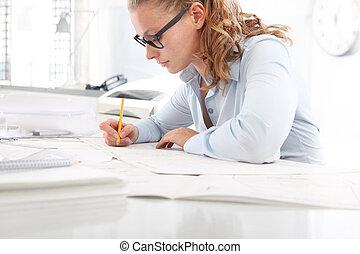 concept, bureau, planification, architecte, bureau, dessin, crayon, modèles