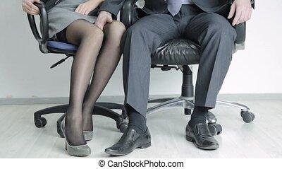 concept, bureau, secretary., homme affaires, toucher, abus,...