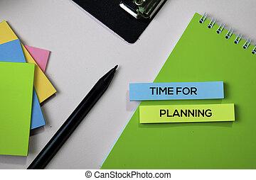concept, bureau, texte, notes, temps, collant, planification, bureau