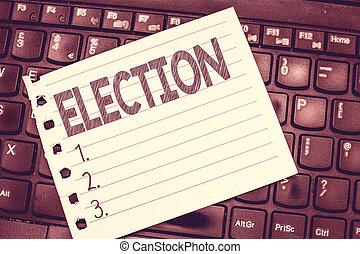 concept, bureau, texte, organisé, écriture, election., signification, démontrer, politique, vote, écriture, choix, formel