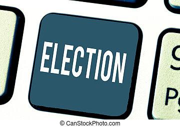 concept, bureau, texte, organisé, choix, election., signification, démontrer, politique, vote, écriture, formel
