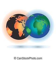 concept, burning, zon, globaal, warming., planeet, earth.