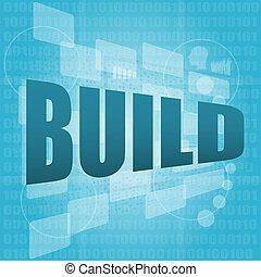 concept, business, écran, construire, mots, numérique