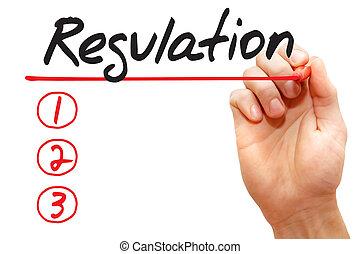 concept, business, écriture, liste, règlement, main