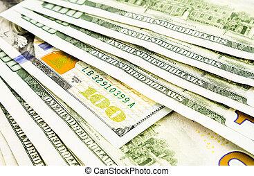 concept, business, édition, argent, dollar, billets banque, monnaie, nouveau, 100, investissement