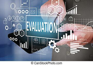 concept, business, évaluation