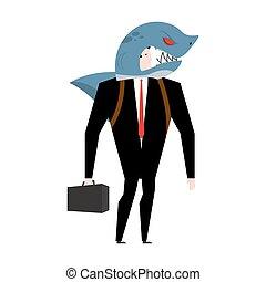 concept, business, allégorie, complet, homme affaires, shark.