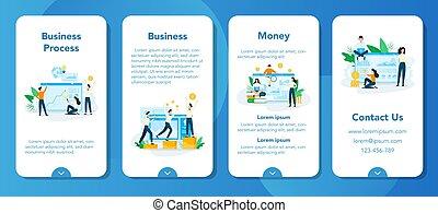 concept, business, analyse, idée, planification, set.