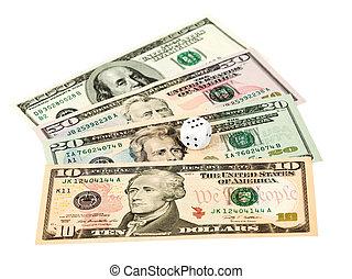 concept, business, argent, -, dés, fond