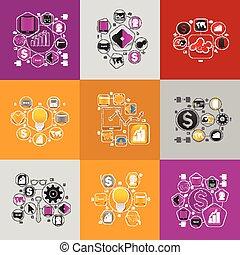 concept, business, autocollant, ensemble, technologie pointe, design.