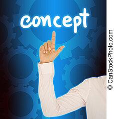 concept, business, bouton, main, femme, contact