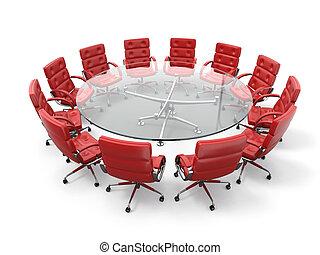 concept, business, brainstorming., table, fauteuils, cercle, réunion, ou, rouges