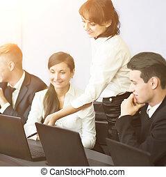 concept,  Business, bureau,  -,  Business, équipe, Sourire, technologie