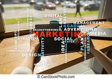 concept, business, commercialisation, screen., virtuel, mots, cloud.