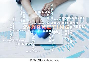 concept, business, commercialisation, screen., virtuel, mots, nuage