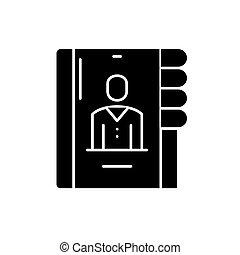 concept, business, contacts, isolé, illustration, signe, arrière-plan., vecteur, noir, icône, symbole