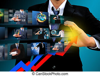 concept,  Business, croissance, levée, flèche, homme affaires, dessin