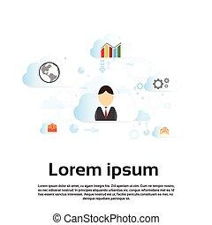 concept, business, données, ligne, technologie internet, nuage, homme