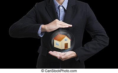 concept, business, donnez protection, tenue, insurance., maison, vendeur