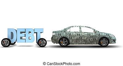 concept, business, -, emprunt, rendre, dette, 3d