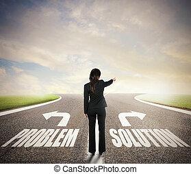 concept, business, femme affaires, décision, chooses, correct, way., crossroads., elle