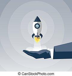 concept, business, fusée, espace, réussi, démarrage, possession main, nouveau, bateau, homme