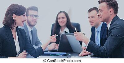 concept, business, gens fonctionnement, communication, discussion, réunion bureau