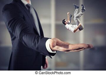 concept, business, grand, soutien, assistance, homme affaires, sauve, main.