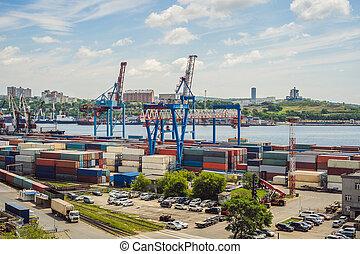 concept, business, grue, bateau, port, logistique, récipient, port, international, expédition, cargaison, exportation, logistique, vue, bourdon, commercer, transport, importation, aérien