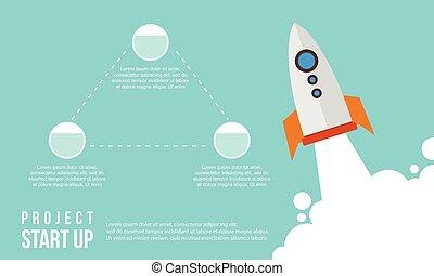 concept, business, haut, début, étape, infographic
