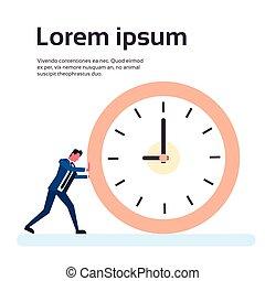 concept, business, horloge, date limite, temps, poussée, homme affaires, homme