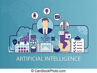 concept, business, intelligence, illustration, vecteur, artificiel