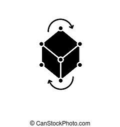 concept, business, isolé, illustration, signe, arrière-plan., vecteur, noir, icône, pivot, modèle, symbole
