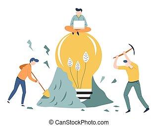 concept, business, lumière, démarrage, idée, conclusion, ampoule