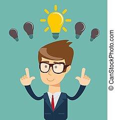concept, business, lumière, idée, personne, clair, ampoule, avoir