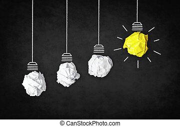 concept, business, lumière, symbole, -, idée, créatif, ampoule, inspiration