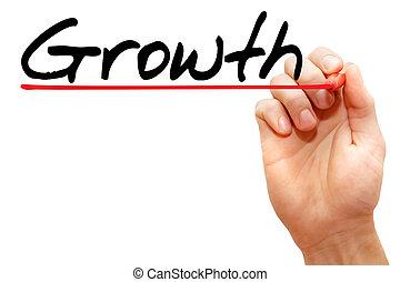 concept, business, main, croissance, écriture